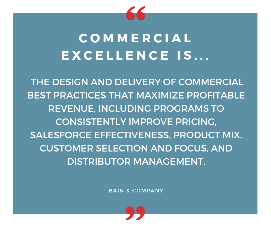 Commercial excellence is the design and delivery of commercial best practices that maximize profitable revenue, including programs to consistently improve pricing, salesforce effectiveness, product mix, custo (2)