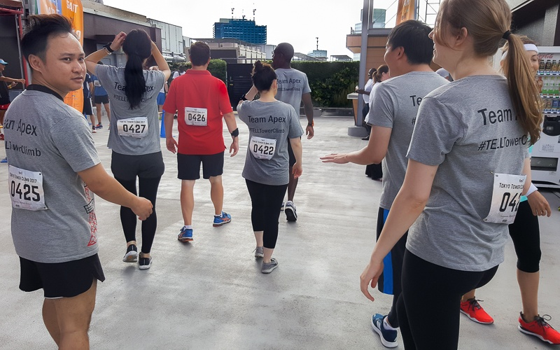 The Tokyo Tower Runners make their way to the start line