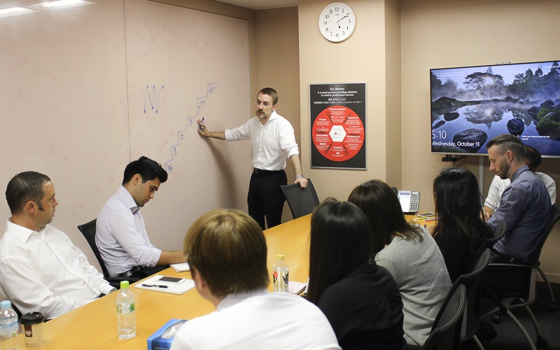 The new hires gather in the training room for a training session